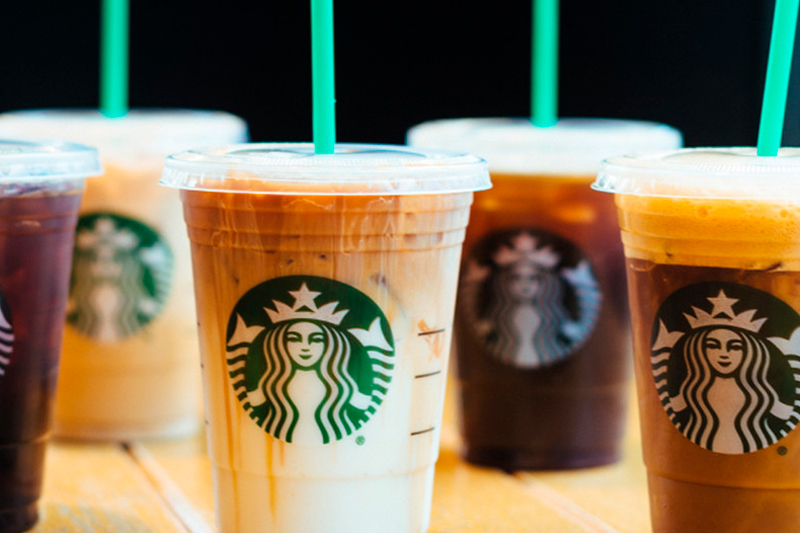 Selection of Starbucks iced beverages