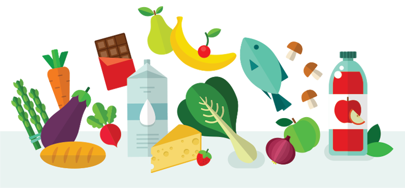 Illustration of a variety of food and beverages
