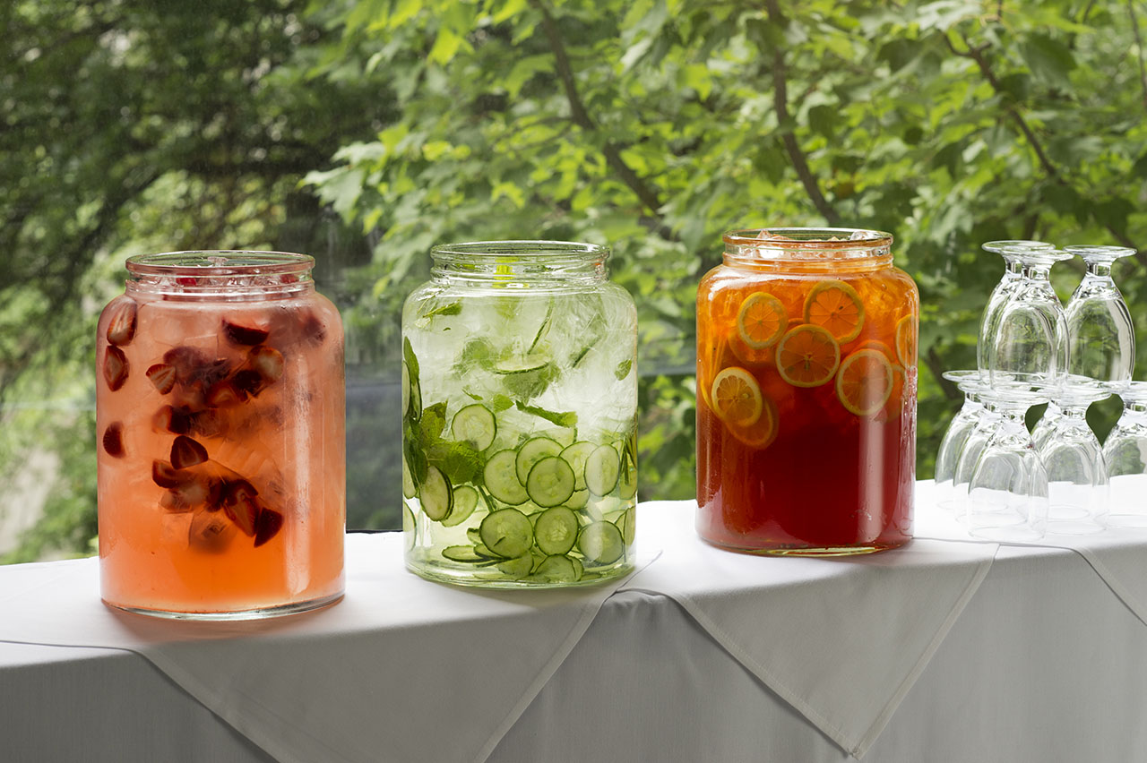 Beverages served in elegant glass containers.