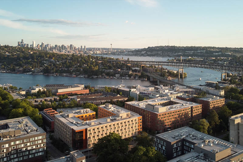 West campus residence halls, Lake Union and downtown Seattle