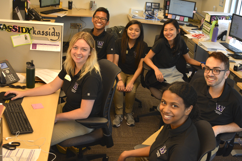Student employees working in Conference Services office