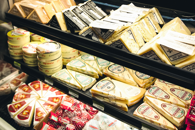 Selection of cheeses in District Market