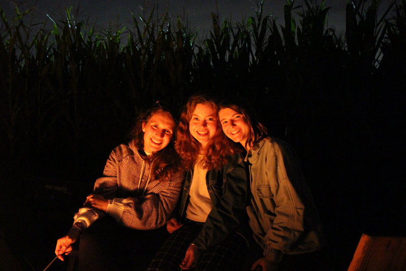 Residents on a trip to a corn maze